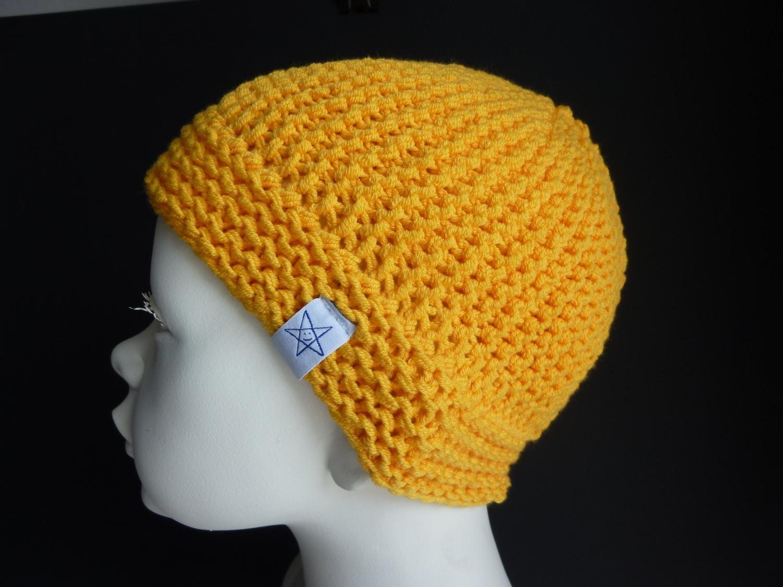 - Babymütze Gr. 41 - 46 Gelb aus Baumwolle handgestrickt - Babymütze Gr. 41 - 46 Gelb aus Baumwolle handgestrickt