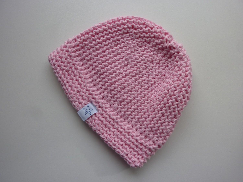 Kleinesbild - Babymütze Gr. 41 - 46 Rosa aus Baumwolle handgestrickt