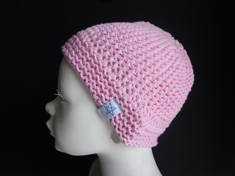 - Babymütze Gr. 41 - 46 Rosa aus Baumwolle handgestrickt - Babymütze Gr. 41 - 46 Rosa aus Baumwolle handgestrickt