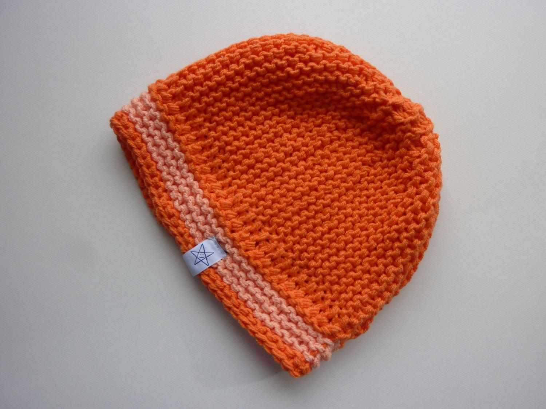 Kleinesbild - Babymütze Gr. 41 - 46 Orange aus Baumwolle handgestrickt