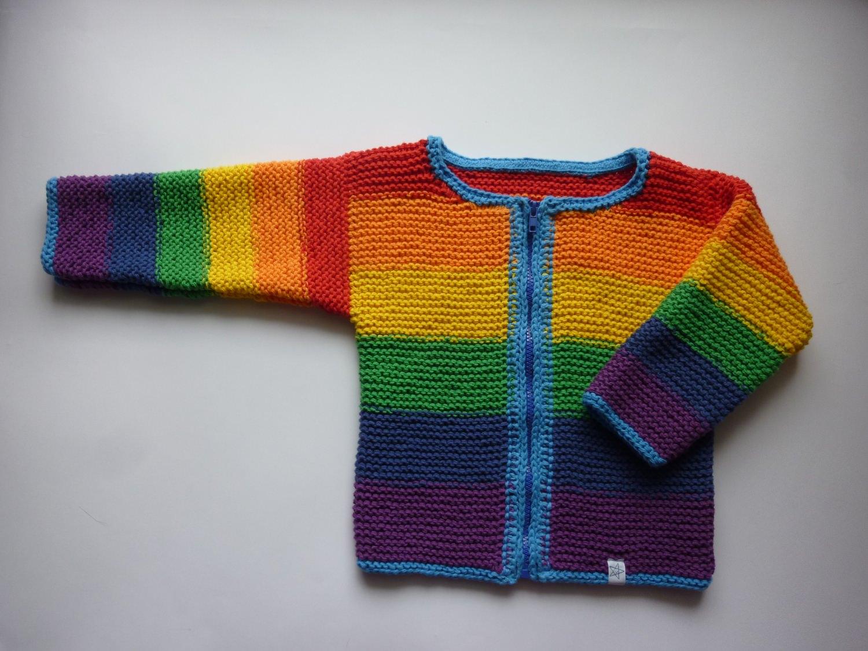- Strickjacke handgestrickt  Gr. 116/122 Regenbogen - Strickjacke handgestrickt  Gr. 116/122 Regenbogen