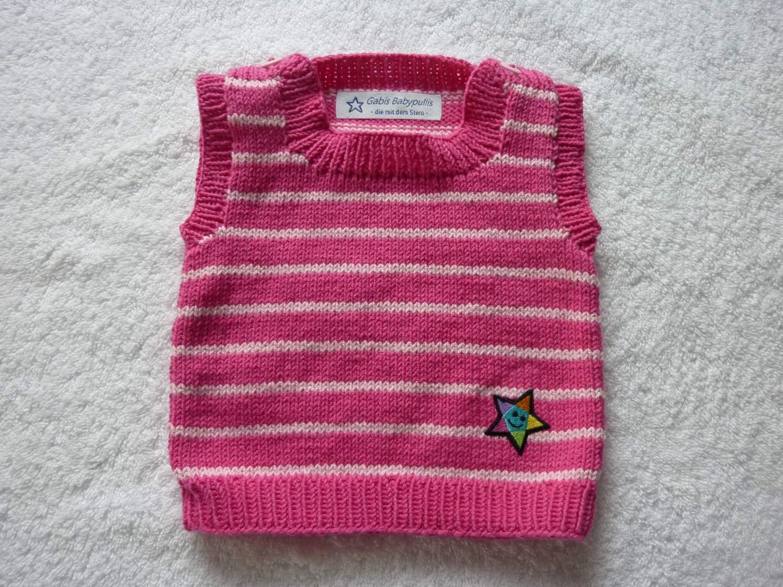 - Baby-Pullunder Gr. 62/68 pink/rosa gestreift handgestrickt - Baby-Pullunder Gr. 62/68 pink/rosa gestreift handgestrickt