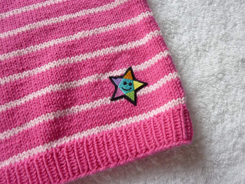 Kleinesbild - Baby-Pullunder Gr. 62/68 pink/rosa gestreift handgestrickt