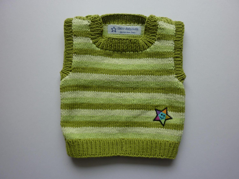 - Baby-Pullunder Gr. 62/68 grün gestreift handgestrickt - Baby-Pullunder Gr. 62/68 grün gestreift handgestrickt