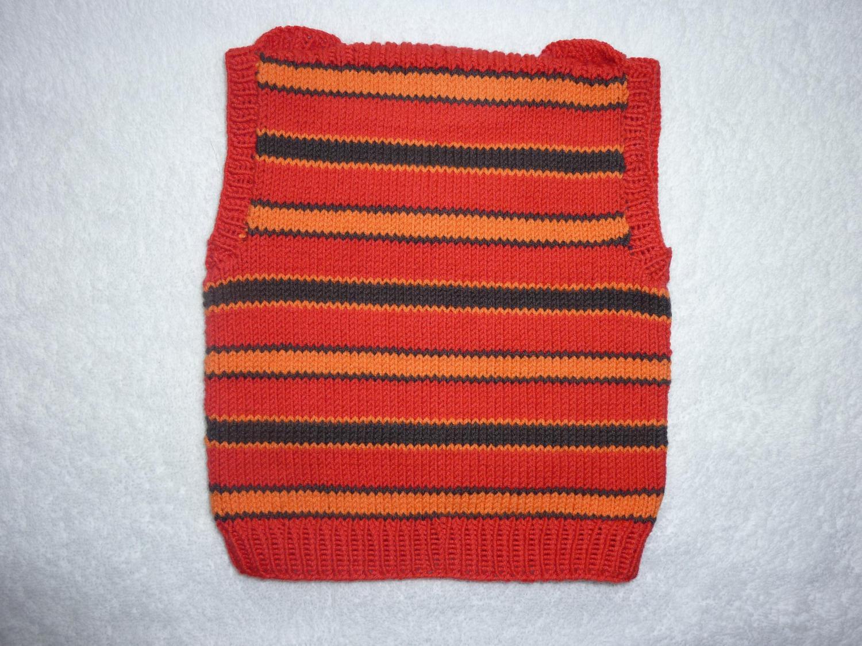 Kleinesbild - Baby-Pullunder Gr. 62/68 rot/orange/braun gestreift handgestrickt