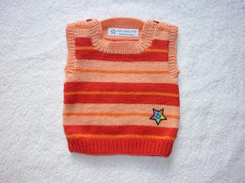 - Baby-Pullunder Gr. 62/68 rot/apricot/orange gestreift handgestrickt - Baby-Pullunder Gr. 62/68 rot/apricot/orange gestreift handgestrickt