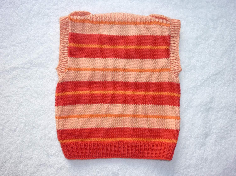 Kleinesbild - Baby-Pullunder Gr. 62/68 rot/apricot/orange gestreift handgestrickt