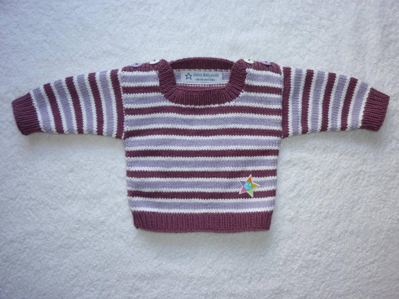 - Babypulli Gr. 62/68 beere/flieder/weiß gestreift - Babypulli Gr. 62/68 beere/flieder/weiß gestreift
