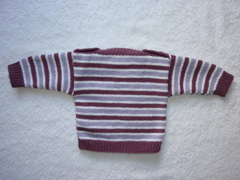 Kleinesbild - Babypulli Gr. 62/68 beere/flieder/weiß gestreift