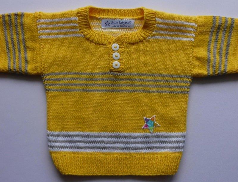 - Babypulli Gr. 74/80 gelb, grau, weiß gestreift aus Baumwolle handgestrickt - Babypulli Gr. 74/80 gelb, grau, weiß gestreift aus Baumwolle handgestrickt