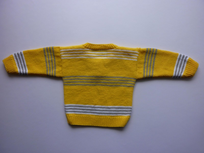 Kleinesbild - Babypulli Gr. 74/80 gelb, grau, weiß gestreift aus Baumwolle handgestrickt