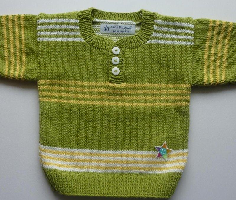 - Babypulli Gr. 74/80 kiwi, gelb, weiß gestreift aus Baumwolle handgestrickt - Babypulli Gr. 74/80 kiwi, gelb, weiß gestreift aus Baumwolle handgestrickt