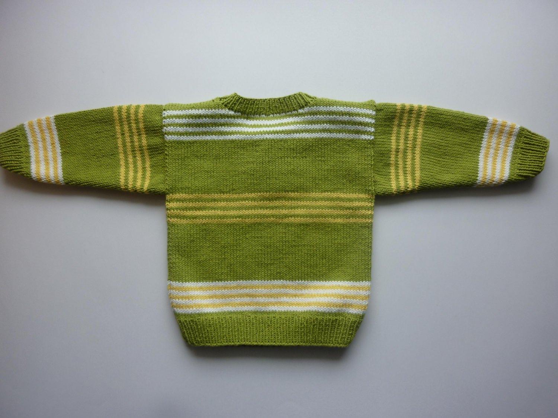Kleinesbild - Babypulli Gr. 74/80 kiwi, gelb, weiß gestreift aus Baumwolle handgestrickt