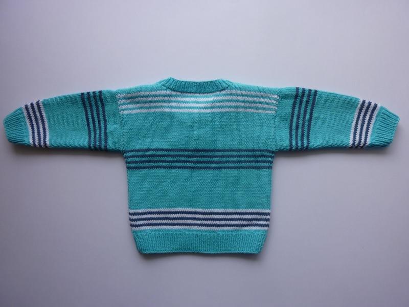 Kleinesbild - Babypulli Gr. 74/80 türkis, weiß, blau gestreift aus Baumwolle handgestrickt