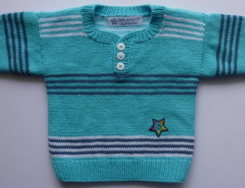 - Babypulli Gr. 74/80 türkis, weiß, blau gestreift aus Baumwolle handgestrickt - Babypulli Gr. 74/80 türkis, weiß, blau gestreift aus Baumwolle handgestrickt