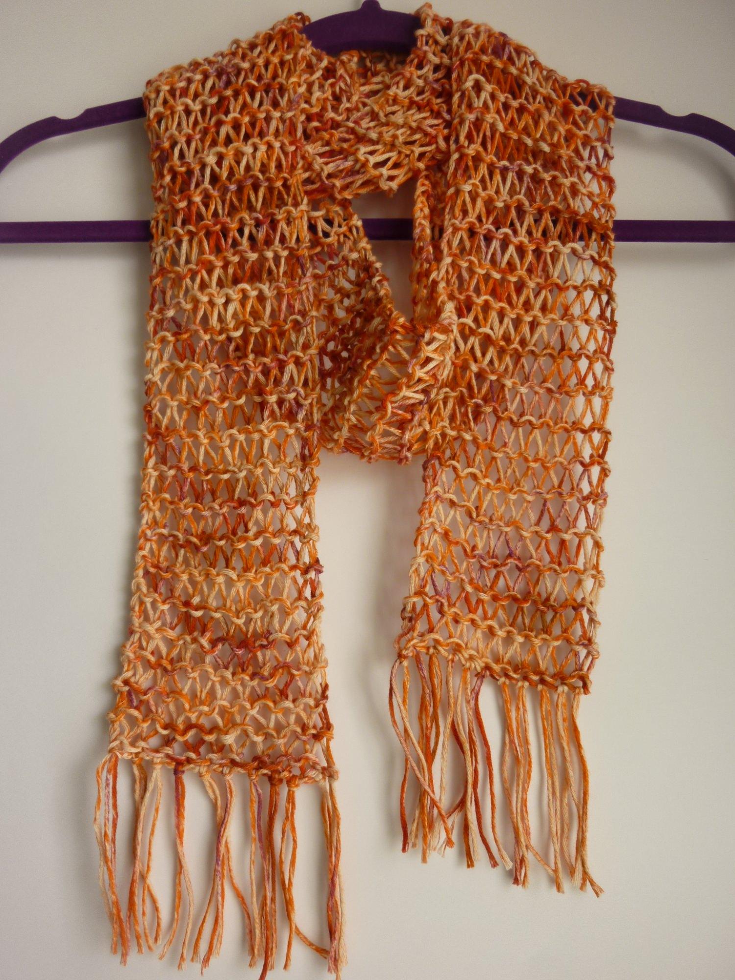- luftiger Sommerschal orange Baumwolle Bio handgestrickt - luftiger Sommerschal orange Baumwolle Bio handgestrickt