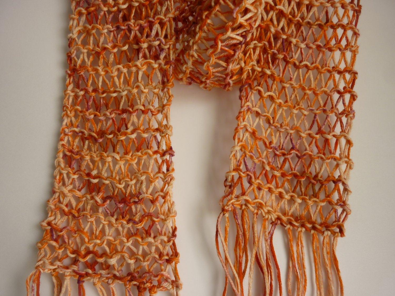 Kleinesbild - luftiger Sommerschal orange Baumwolle Bio handgestrickt