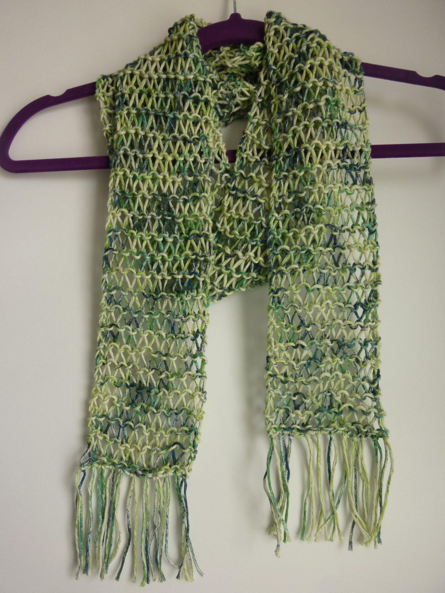 - leichter Sommerschal grün Baumwolle Bio handgestrickt - leichter Sommerschal grün Baumwolle Bio handgestrickt