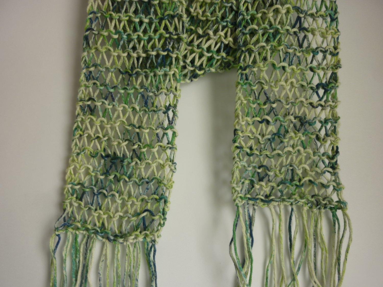 Kleinesbild - leichter Sommerschal grün Baumwolle Bio handgestrickt