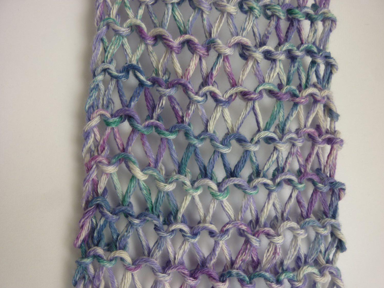Kleinesbild - leichter Sommerschal flieder Baumwolle Bio handgestrickt