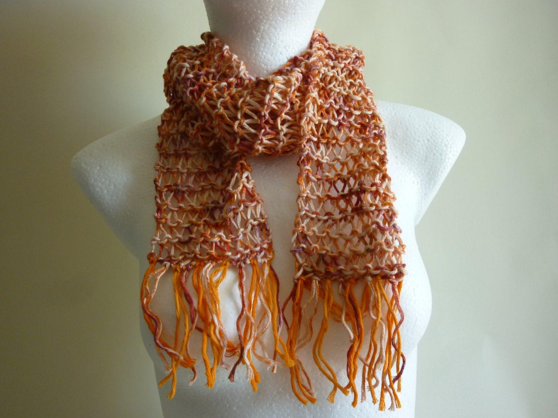 - Sommerschal orange Baumwolle Bio handgestrickt - Sommerschal orange Baumwolle Bio handgestrickt