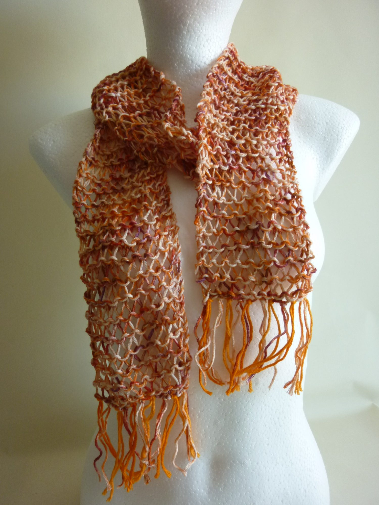 Kleinesbild - Sommerschal orange Baumwolle Bio handgestrickt
