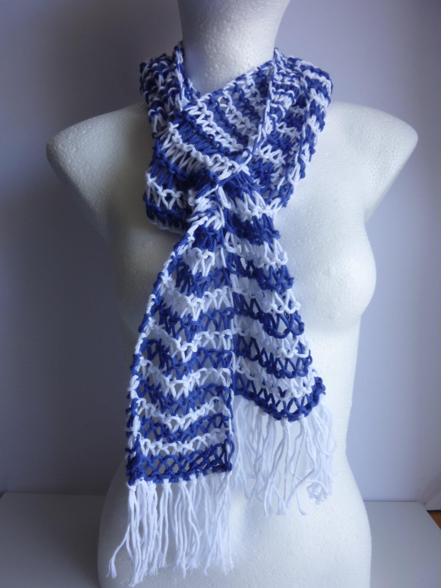 - Sommerschal weiß blau gestreift Baumwolle Bio handgestrickt - Sommerschal weiß blau gestreift Baumwolle Bio handgestrickt