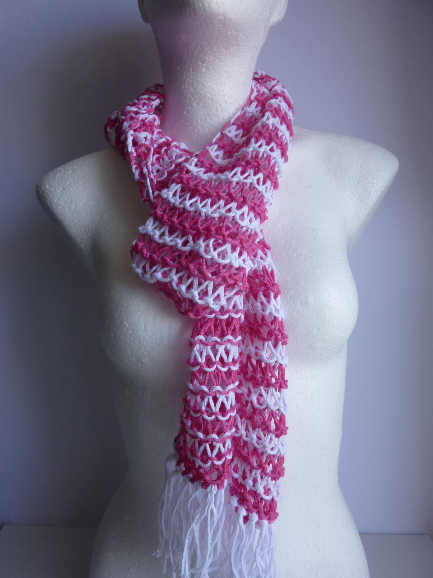- Sommerschal weiß pink gestreift Baumwolle Bio handgestrickt - Sommerschal weiß pink gestreift Baumwolle Bio handgestrickt