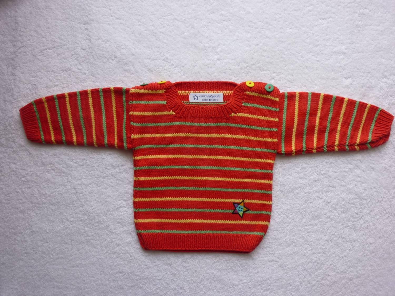 Kleinesbild - Babypulli Gr. 74/80 rot/grün/gelb gestreift aus Baumwolle handgestrickt