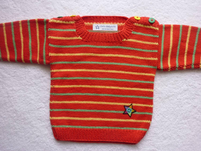 - Babypulli Gr. 74/80 rot/grün/gelb gestreift aus Baumwolle handgestrickt - Babypulli Gr. 74/80 rot/grün/gelb gestreift aus Baumwolle handgestrickt