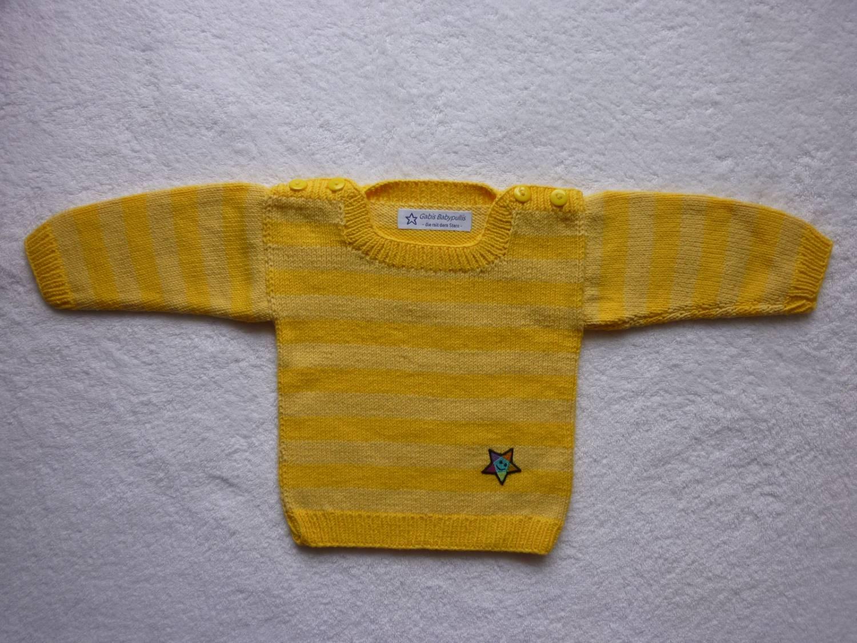Kleinesbild - Babypulli Gr. 74/80 gelb gestreift aus Baumwolle handgestrickt