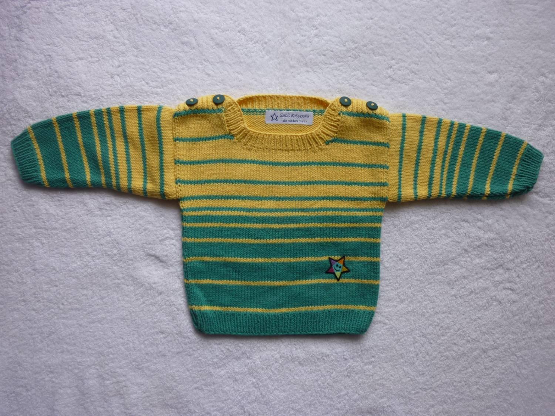Kleinesbild - Babypulli Gr. 74/80 türkisgrün/gelb gestreift aus Baumwolle handgestrickt