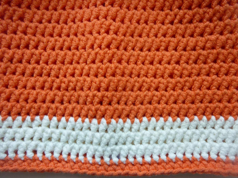 Kleinesbild - Häkelmütze orange wollweiß Baumwolle