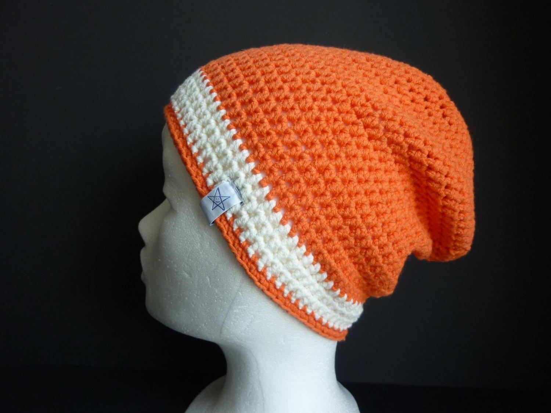 - Häkelmütze orange wollweiß Baumwolle - Häkelmütze orange wollweiß Baumwolle