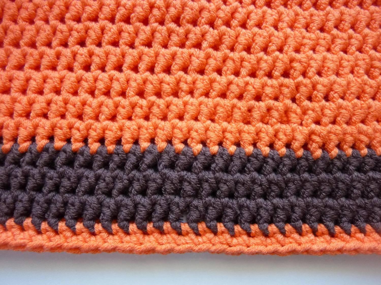 Kleinesbild - Häkelmütze orange braun Baumwolle