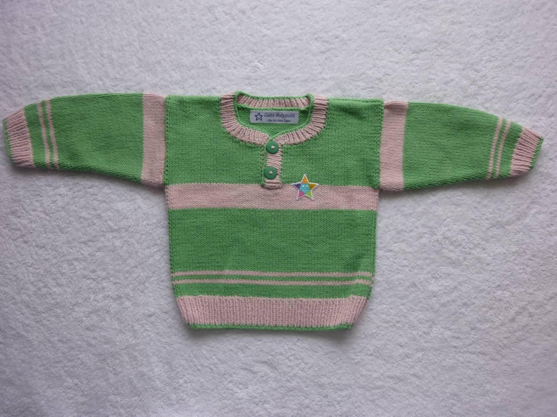 Kleinesbild - Babypulli Gr. 74/80 grün blassrosa aus Baumwolle handgestrickt