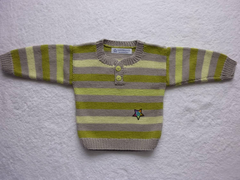 Kleinesbild - Babypulli Gr. 74/80 grau grün gestreift aus Baumwolle handgestrickt