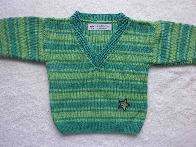- Babypulli Gr. 74/80 grün gestreift aus Baumwolle handgestrickt - Babypulli Gr. 74/80 grün gestreift aus Baumwolle handgestrickt