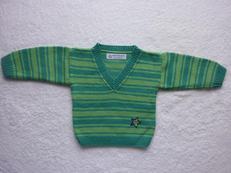 Kleinesbild - Babypulli Gr. 74/80 grün gestreift aus Baumwolle handgestrickt