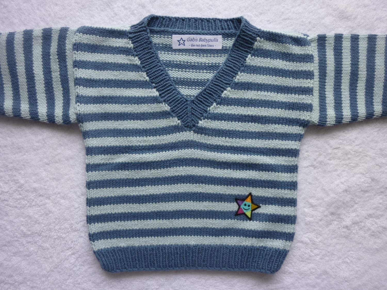 - Babypulli Gr. 74/80 blau gestreift aus Baumwolle handgestrickt V1 - Babypulli Gr. 74/80 blau gestreift aus Baumwolle handgestrickt V1