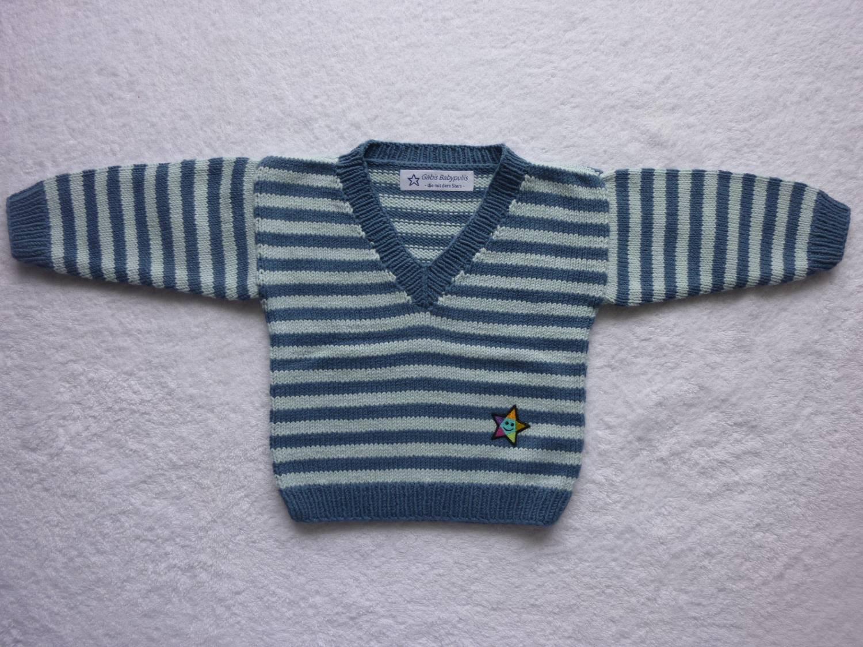 Kleinesbild - Babypulli Gr. 74/80 blau gestreift aus Baumwolle handgestrickt V1