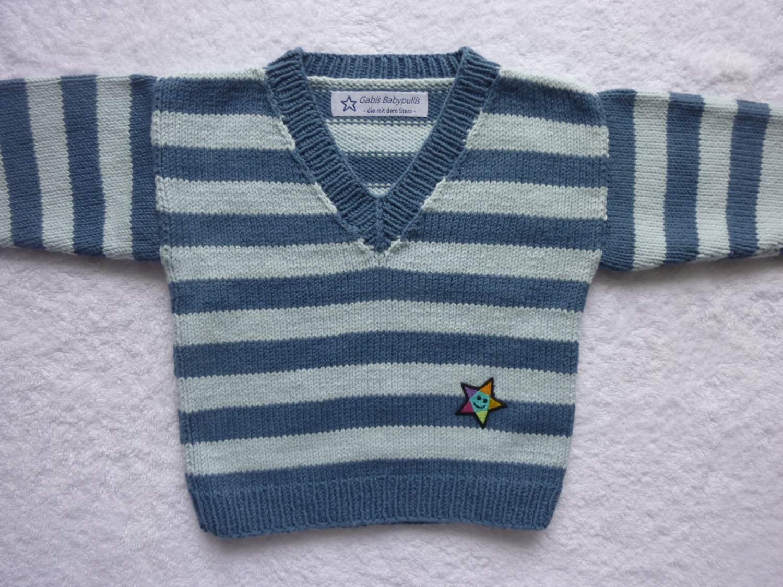 - Babypulli Gr. 74/80 blau gestreift aus Baumwolle handgestrickt V2 - Babypulli Gr. 74/80 blau gestreift aus Baumwolle handgestrickt V2