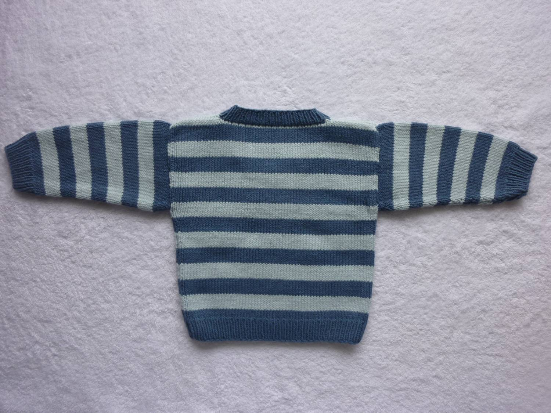 Kleinesbild - Babypulli Gr. 74/80 blau gestreift aus Baumwolle handgestrickt V2