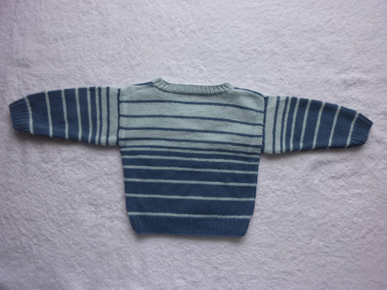 Kleinesbild - Babypulli Gr. 74/80 blau gestreift aus Baumwolle handgestrickt V3