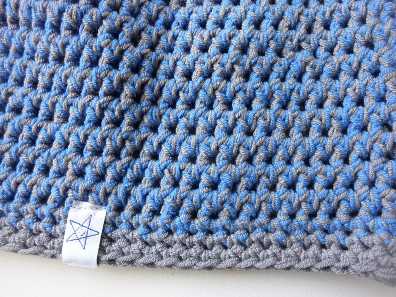 Kleinesbild - Häkelmütze grau blau Baumwolle