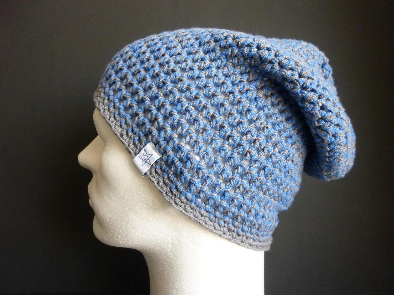 - Häkelmütze grau blau Baumwolle - Häkelmütze grau blau Baumwolle