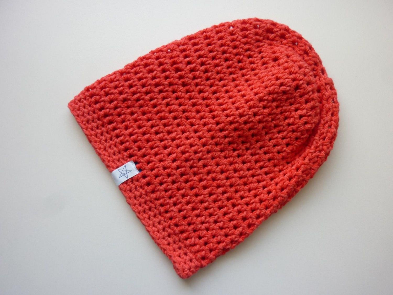 Kleinesbild - Häkelmütze rot Baumwolle