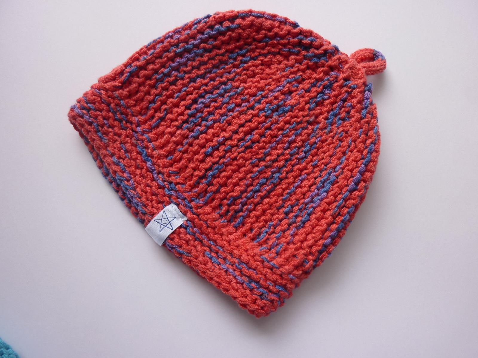 Kleinesbild - Babymütze Gr. 41 - 46 Rot Blau aus Baumwolle
