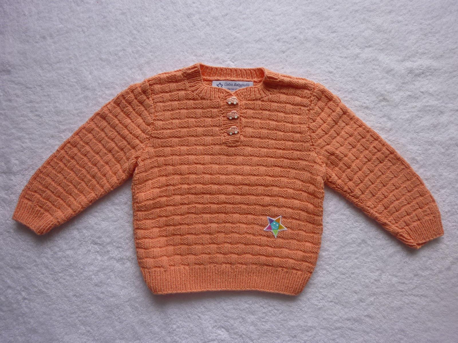 Kleinesbild - Kinderpullover Gr. 86/92 apricot Baumwolle