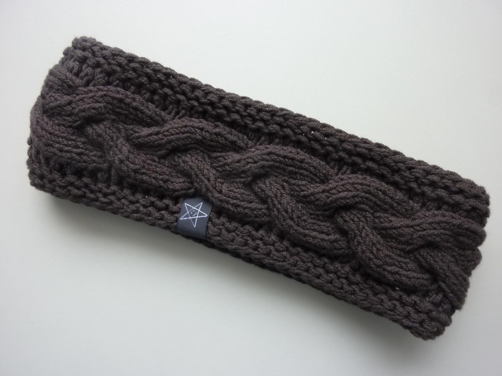 - gefüttertes Stirnband in schieferbraun aus Baumwolle handgestrickt - gefüttertes Stirnband in schieferbraun aus Baumwolle handgestrickt